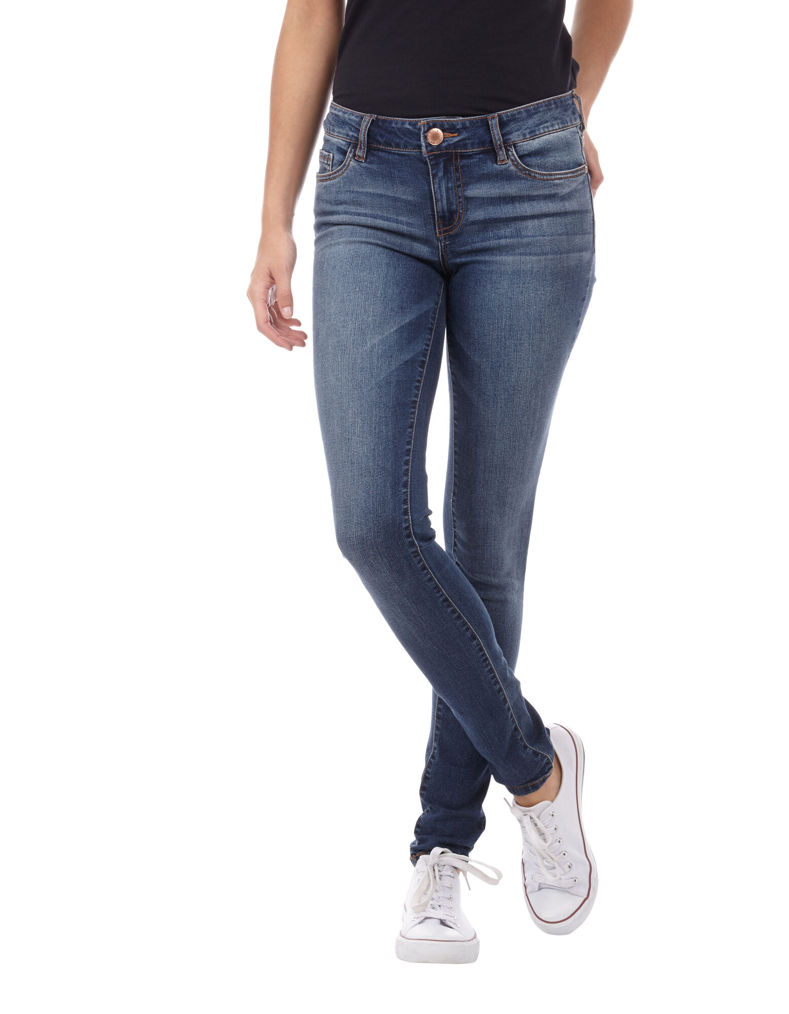 Damen Stone Washed Skinny Fit 5-Pocket-Jeans