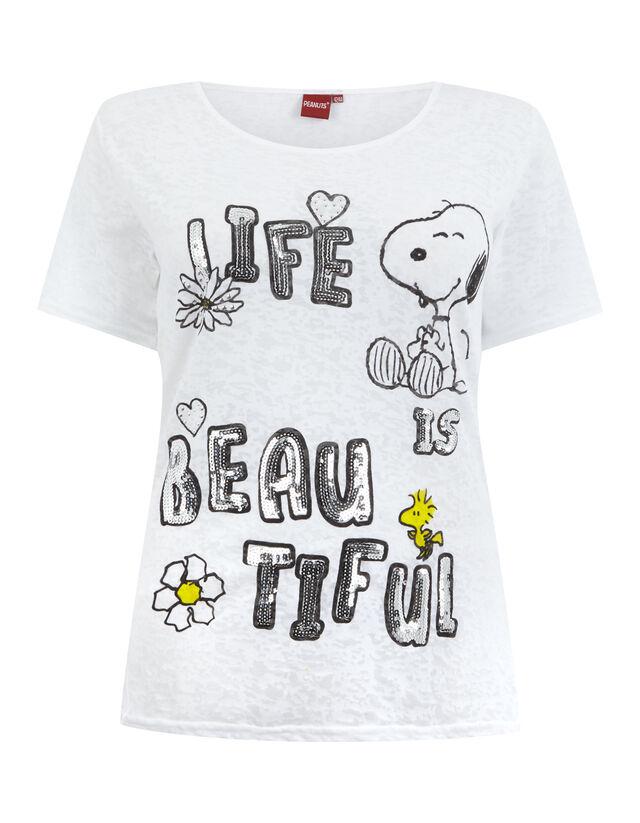 Damen T-Shirt mit Peanuts-Print und Pailletten-Besatz