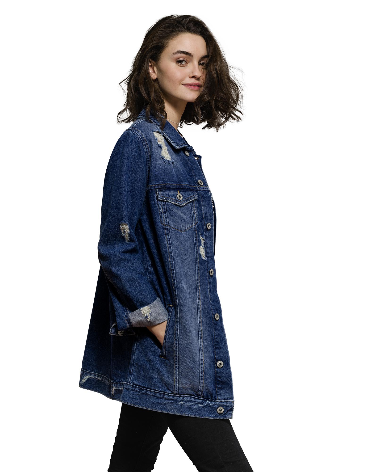 Damen oversized jeansjacke im destroyed look takko fashion for Jeansjacke oversize damen