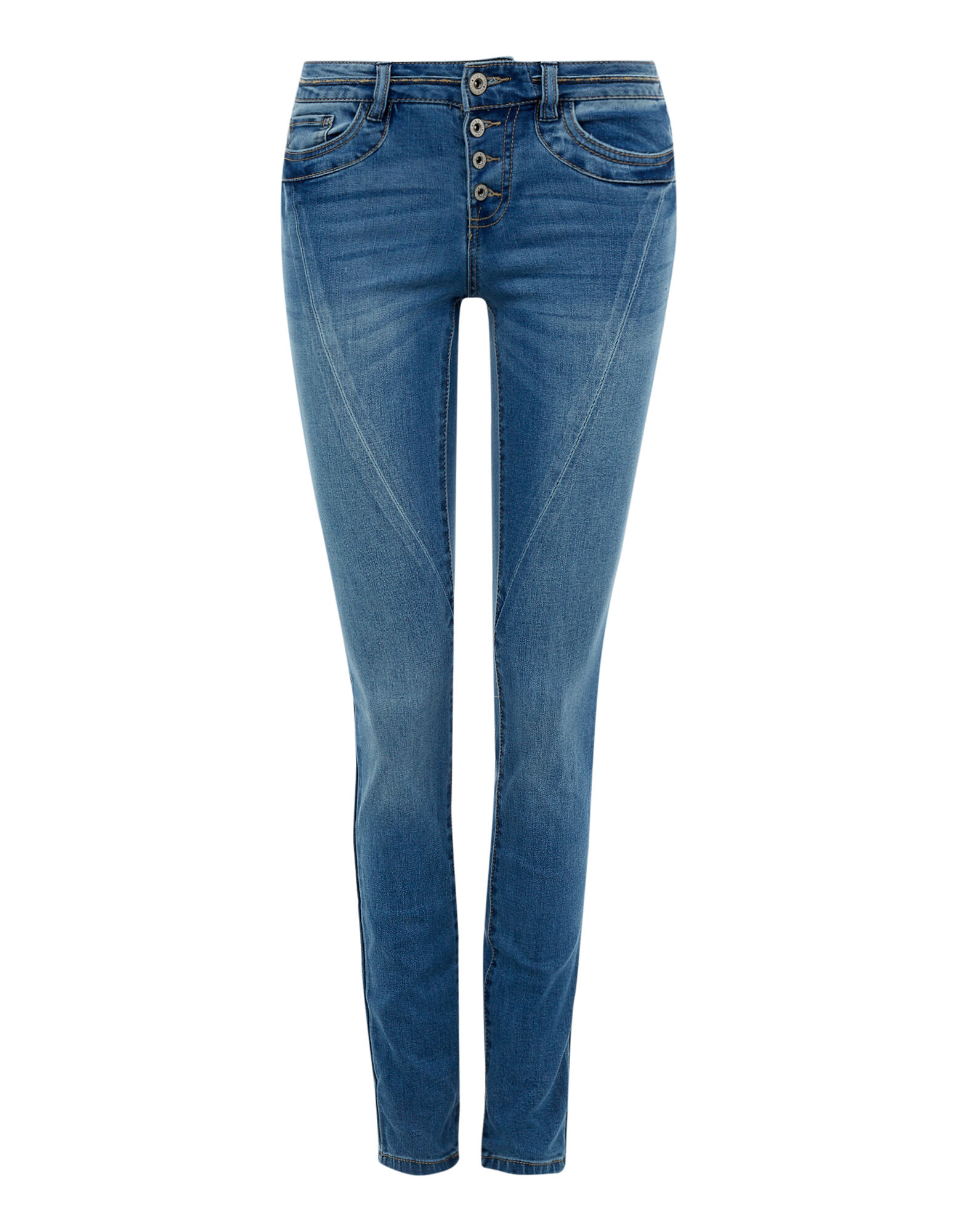 Damen Stone Washed Skinny Fit Jeans mit Knopfleiste