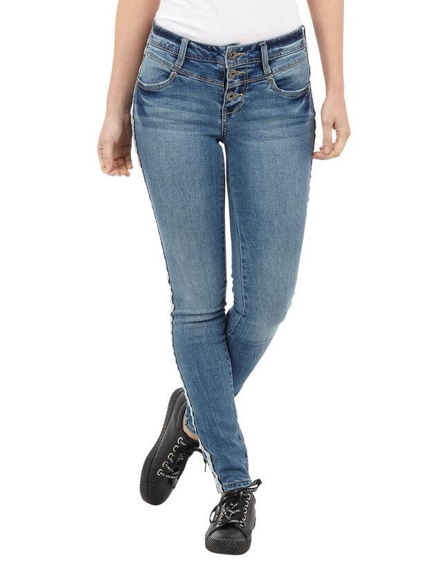 damen skinny fit jeans mit galonstreifen takko fashion. Black Bedroom Furniture Sets. Home Design Ideas