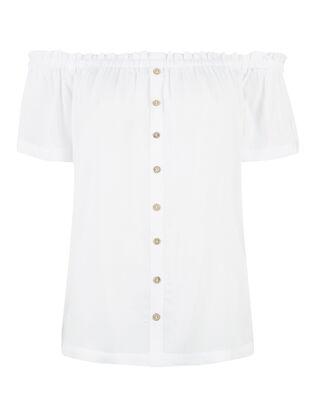 76f454b29085 Damen Off-Shoulder-Bluse mit Zierknöpfen