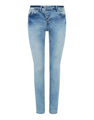 Damen Slim Fit Jeans im Bleached Look