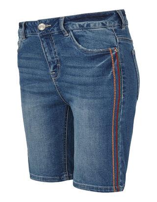 e8986c5c551497 Damen Stone Washed Jeansbermuda mit Stickereien