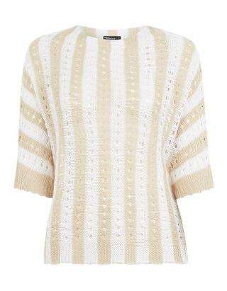 Damen Pullover aus Lochstrick mit Streifenmuster