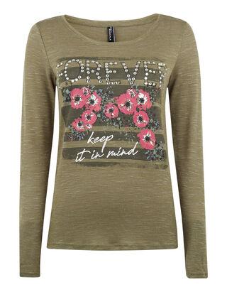 1b5ae030181144 Damen Pullover mit floralen Prints und Strasssteinen
