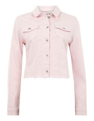 b03798e855ea Damen Coloured Jeansjacke mit Fransenbesatz