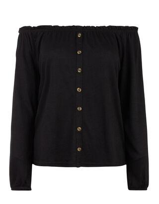 d142a0c4b165 Damen Off-Shoulder Bluse mit Zierknöpfen