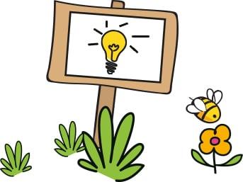 Schild mit Glühbirne – Nützliche Info zur Dopodopo Kindermode von Takko