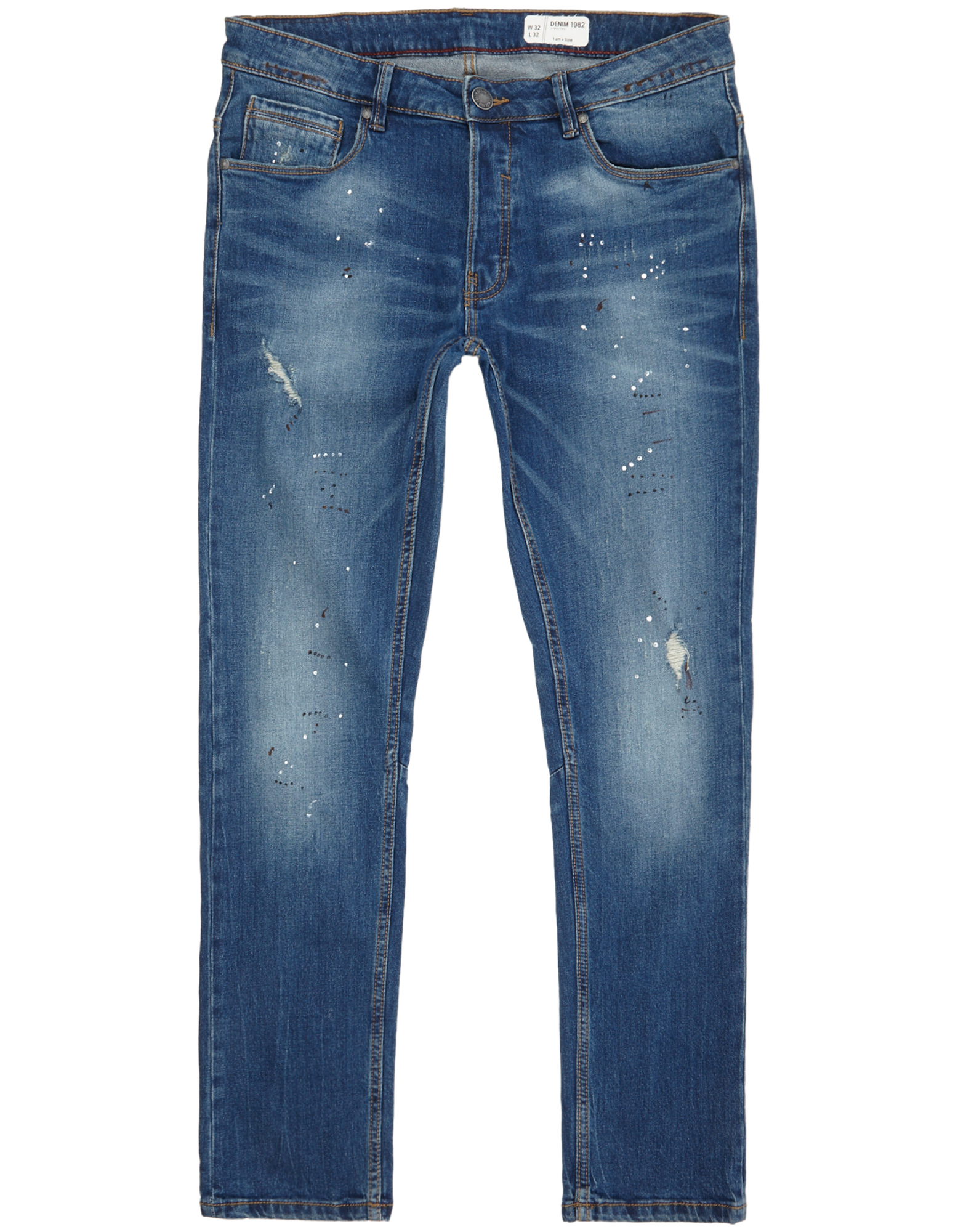 Herren Stone Washed Slim Fit Jeans im Destroyed Look  | 81509969940402