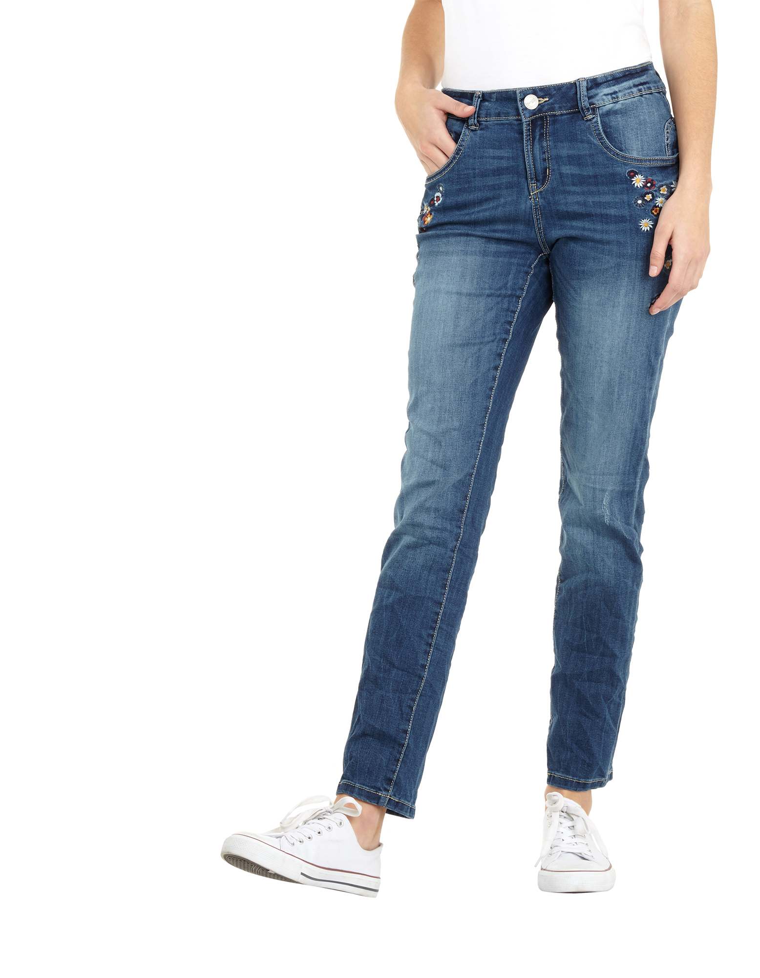 damen slim fit jeans im used look takko fashion. Black Bedroom Furniture Sets. Home Design Ideas