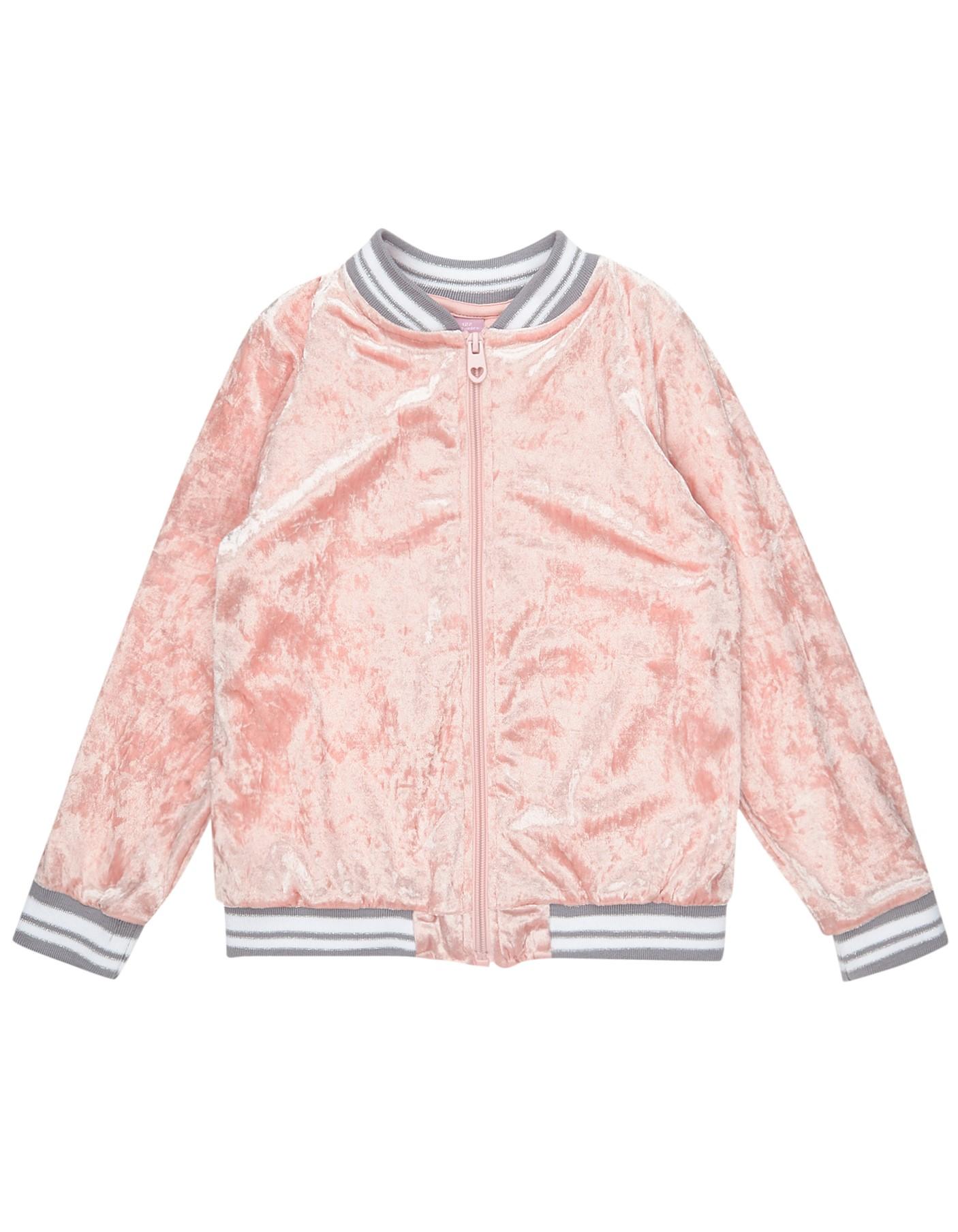 Mädchen Sweatjacke aus Samt rosa | 81519904040807