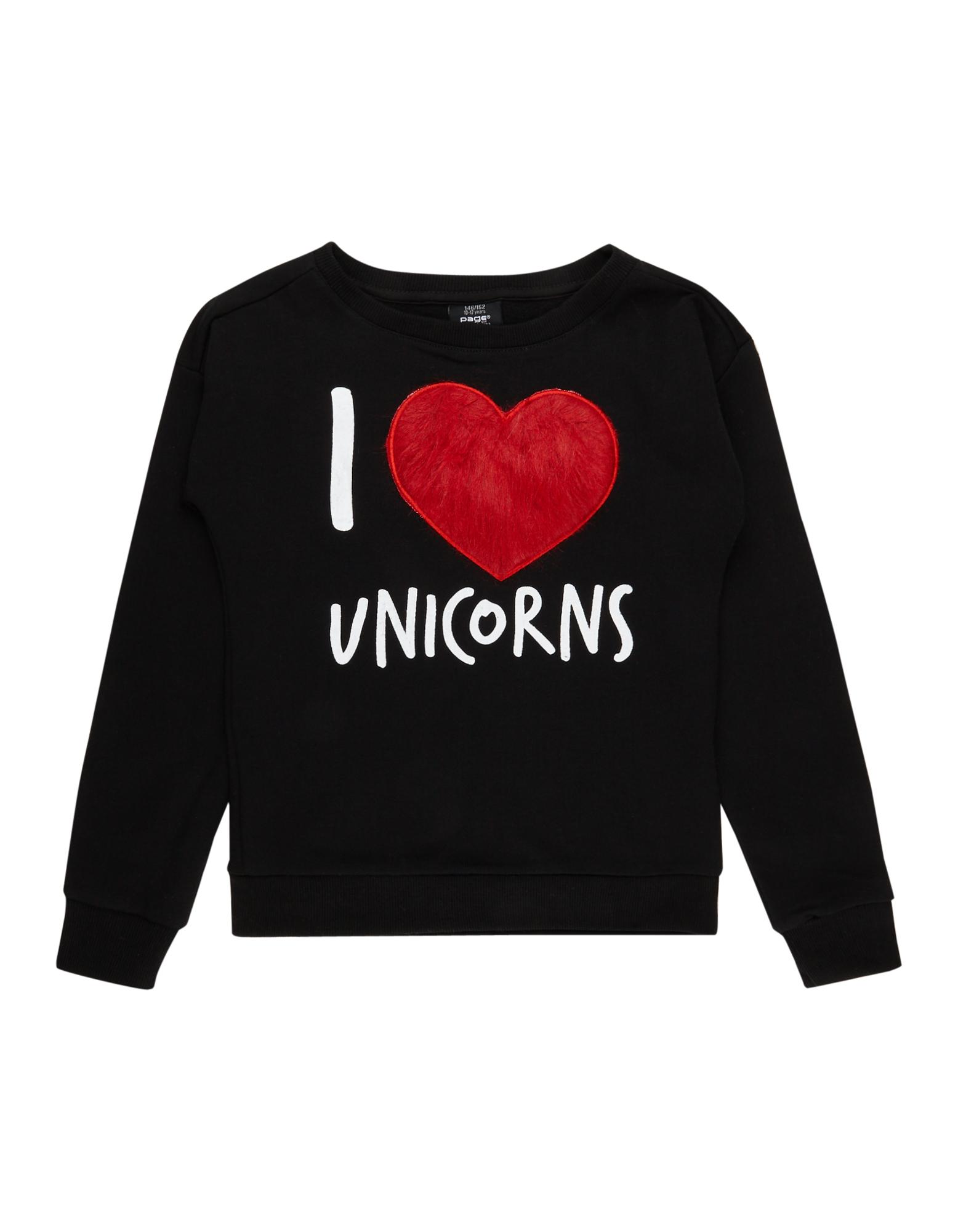 Mädchen Sweatshirt mit Fellherz-Applikation bunt,mehrfarbig,rot | 81488181800407