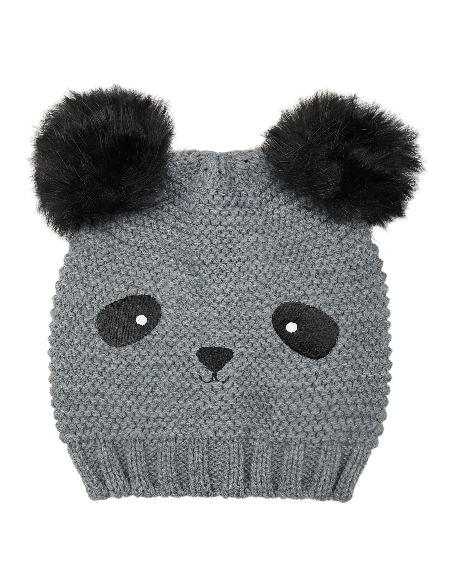 Damen Pudelmütze im Panda-Look mit Webpelz-Bommeln | Accessoires > Mützen > Bommelmützen | Takko