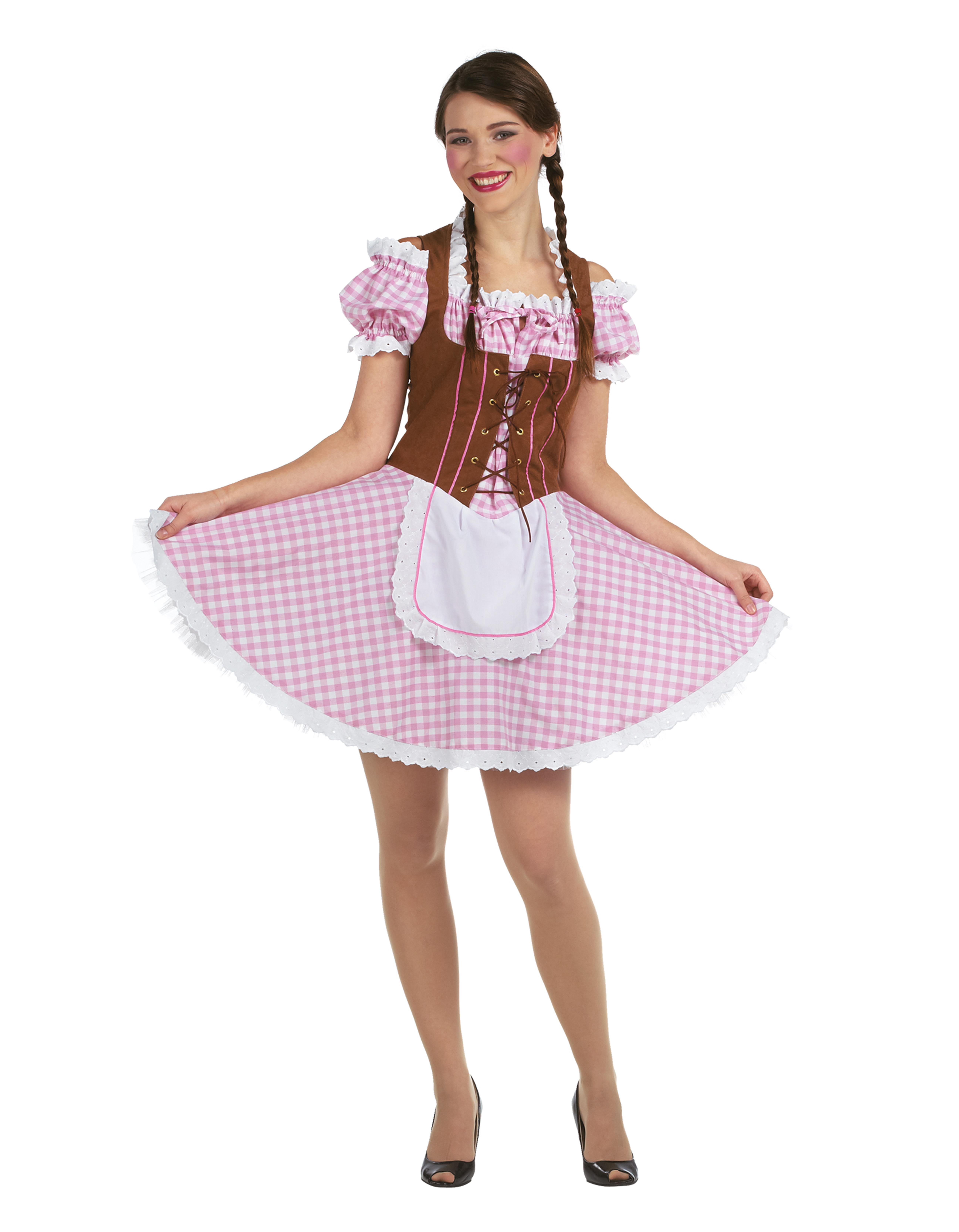 Takko Fashion Damen Dirndl braun,  rosa,  weiß | 04003417620782