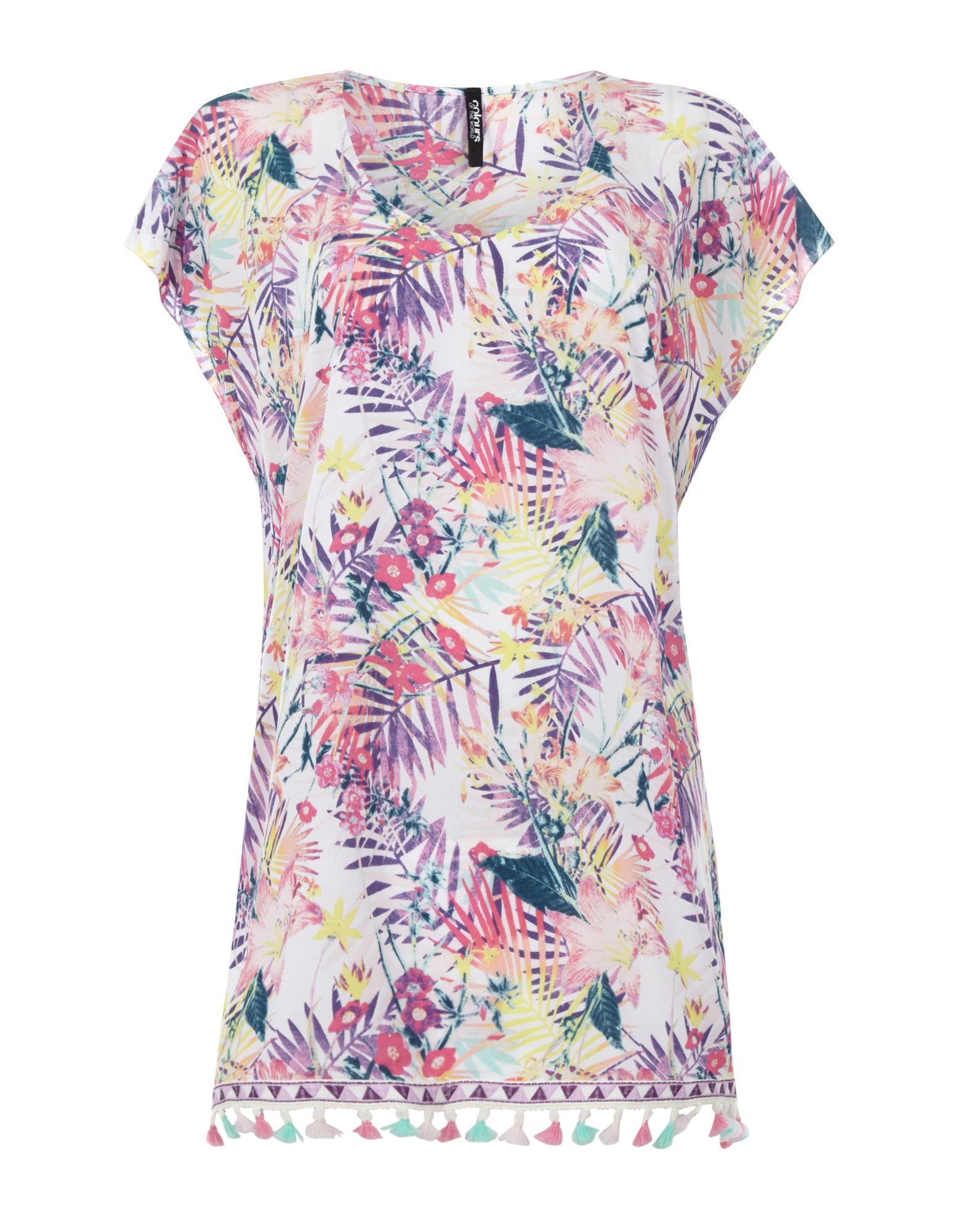 Damen Tunika mit Blumen-Print | Bekleidung > Tuniken > Sonstige Tuniken | Colours of the World