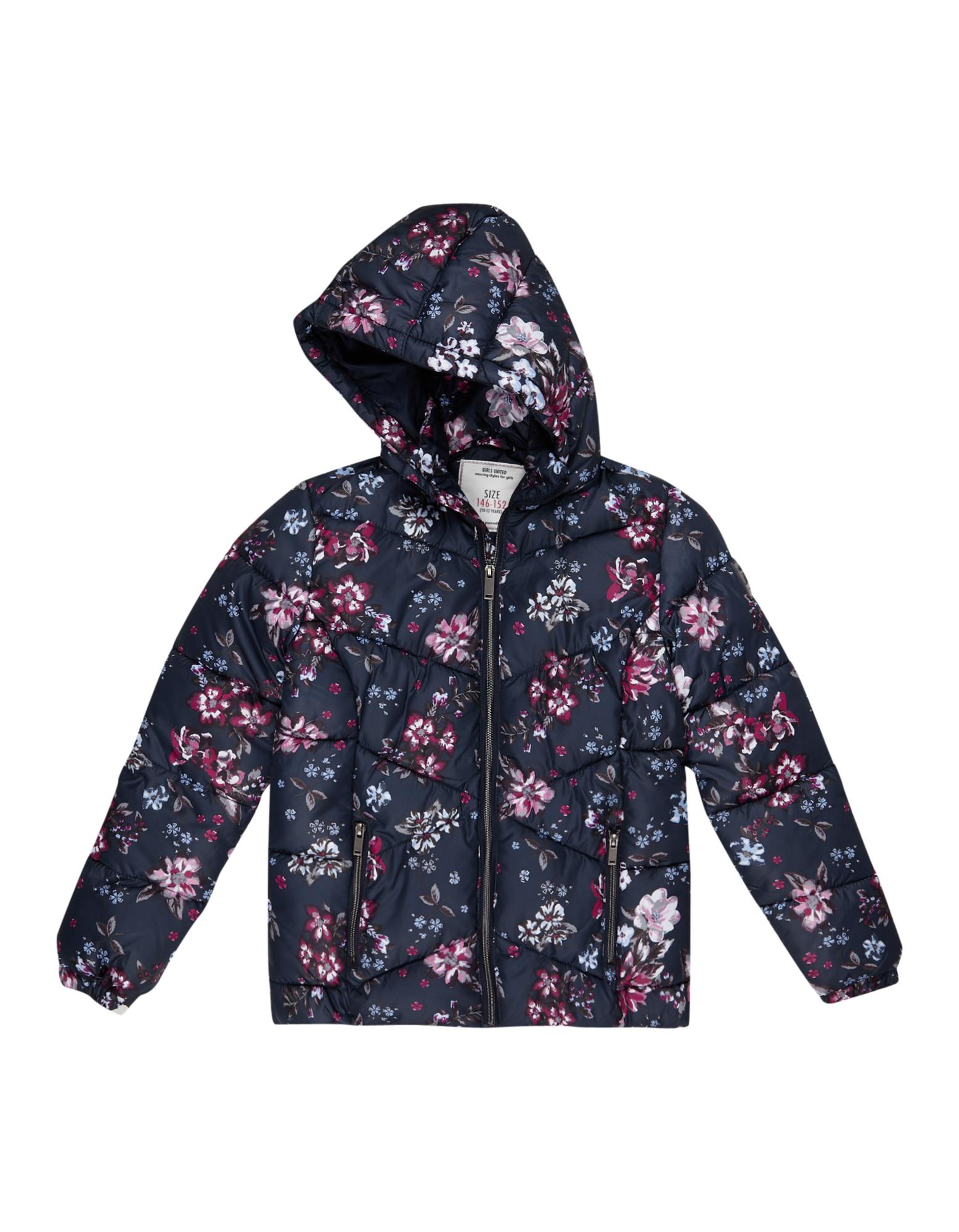 Mädchen Steppjacke mit floralem Allover-Muster    81481785750307