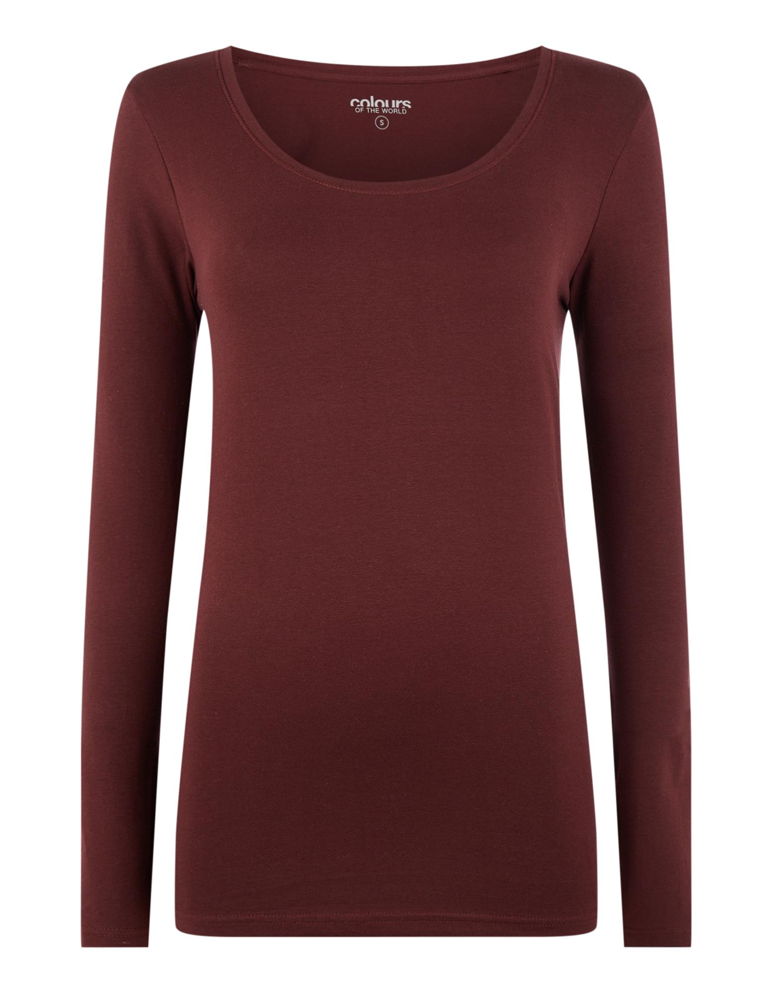Damen Longsleeve mit Rundhalsausschnitt   Bekleidung > Shirts > Sonstige Shirts   Dunkelrot   Takko
