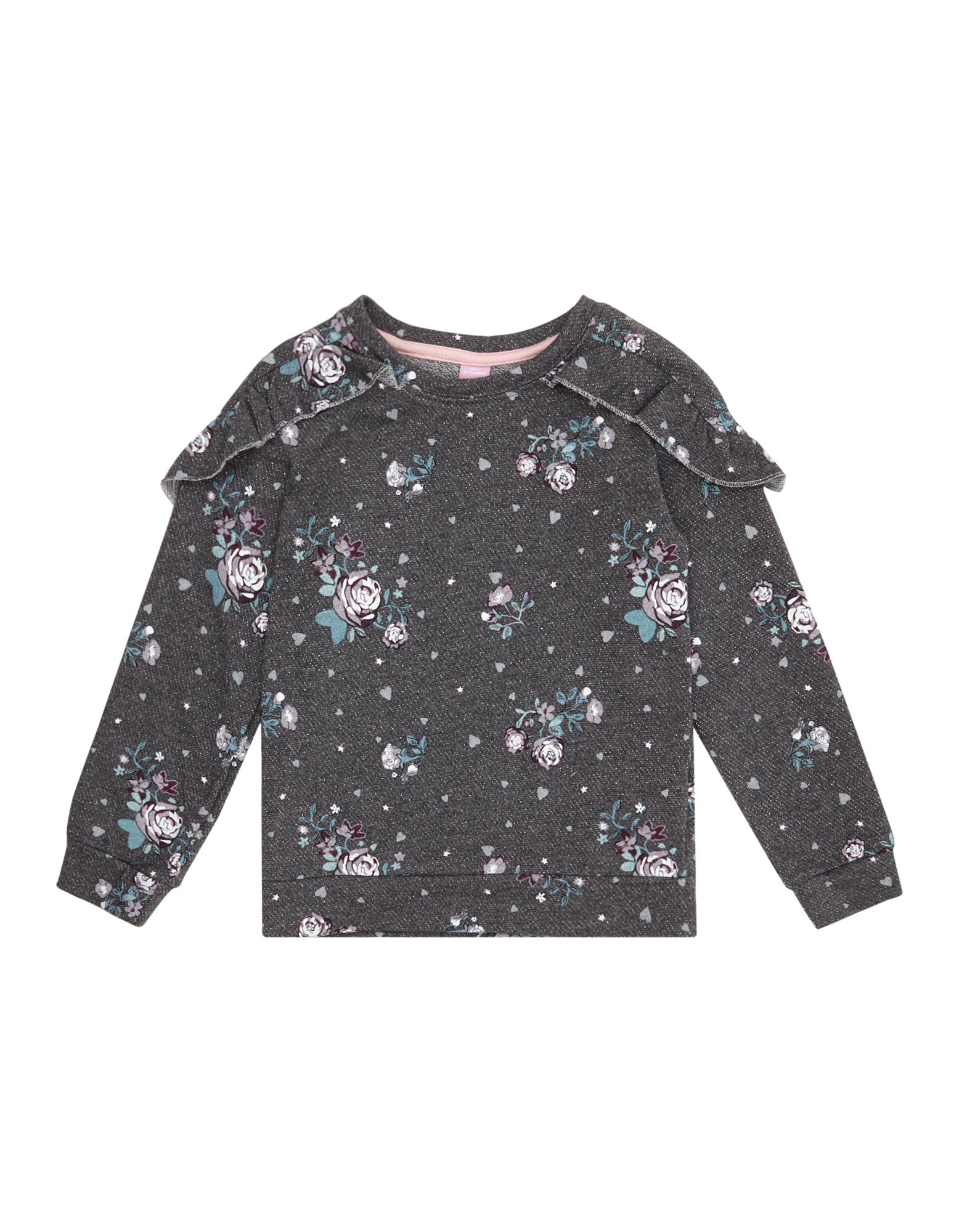 Mädchen Sweatshirt mit Volantbesatz und Allover-Print blau | 81513741720809