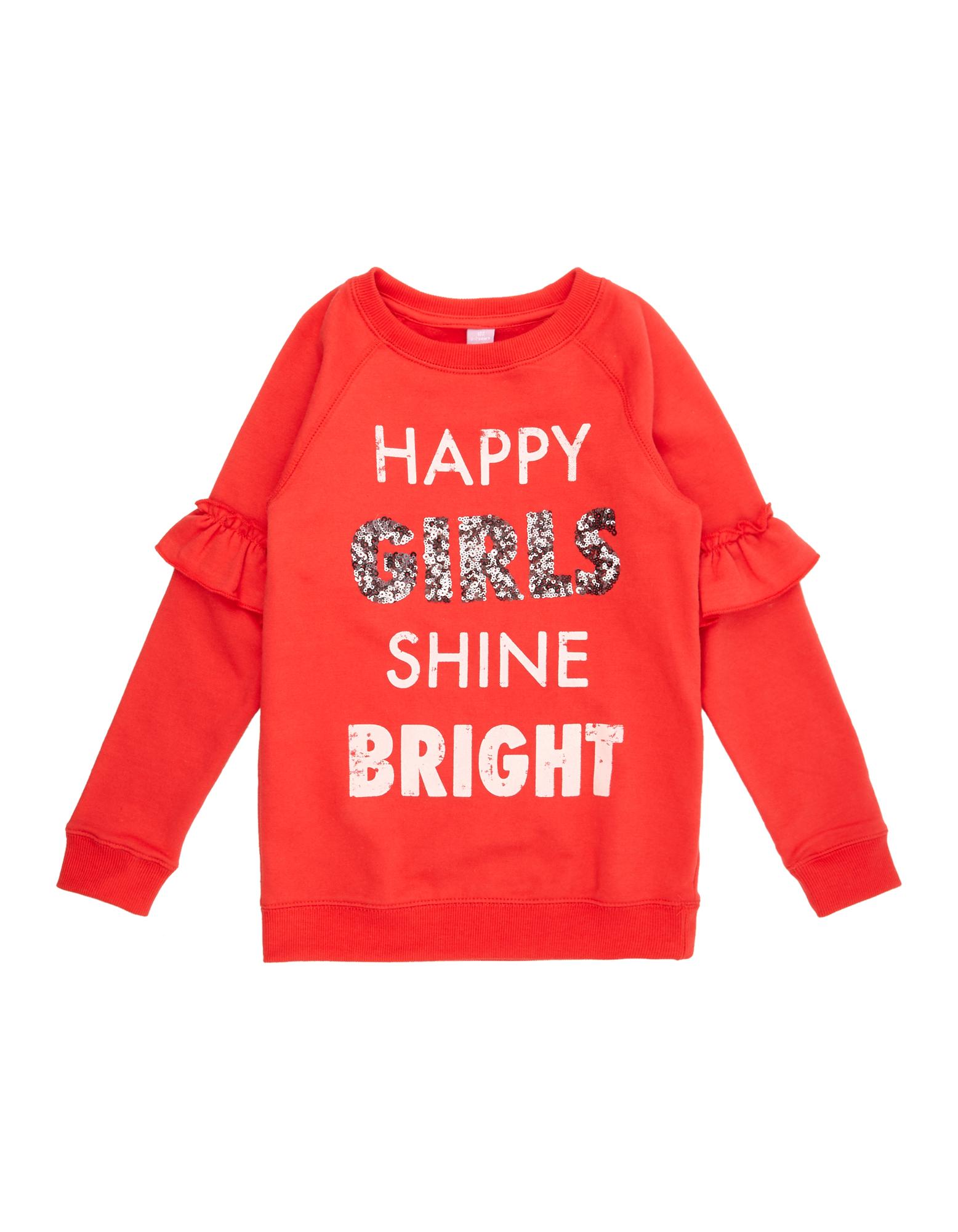 Mädchen Sweatshirt mit Print und Paillettenbesatz  | 81512493320404