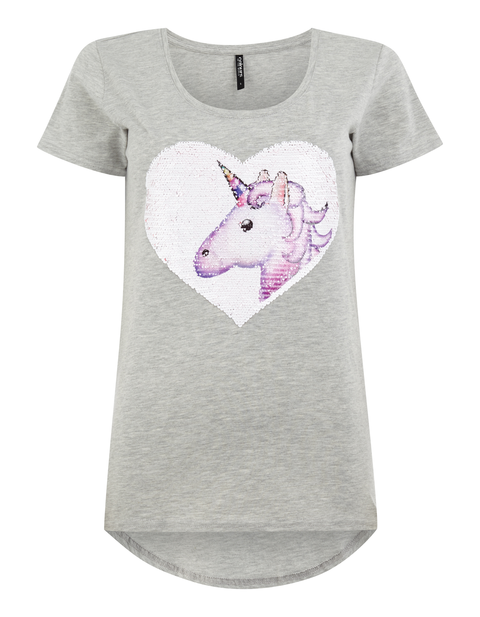 damen t shirt mit einhorn motiv aus wende pailletten. Black Bedroom Furniture Sets. Home Design Ideas