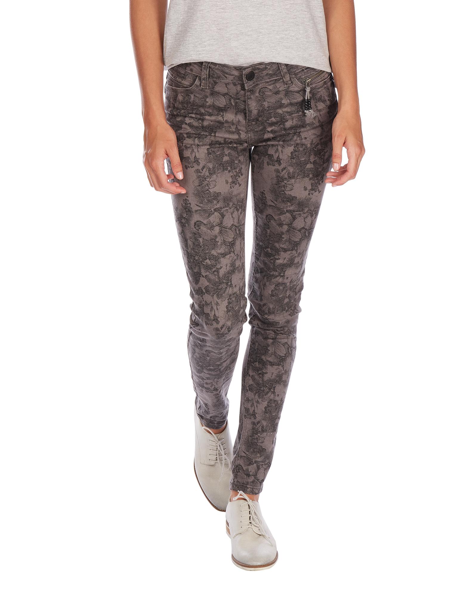 damen slim fit 5 pocket jeans mit floralem muster - Jeans Mit Muster