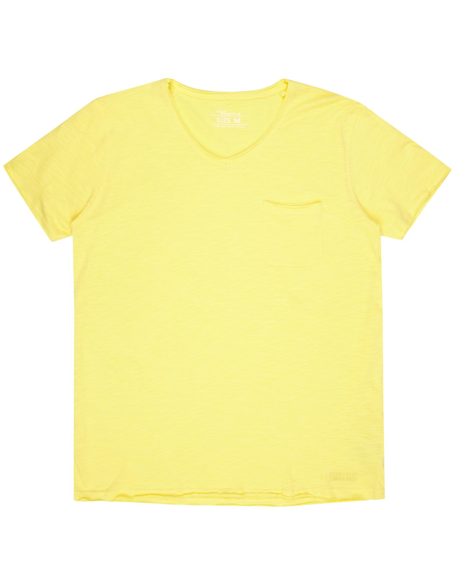 Herren T-Shirt mit V-Ausschnitt gelb   81464242250305