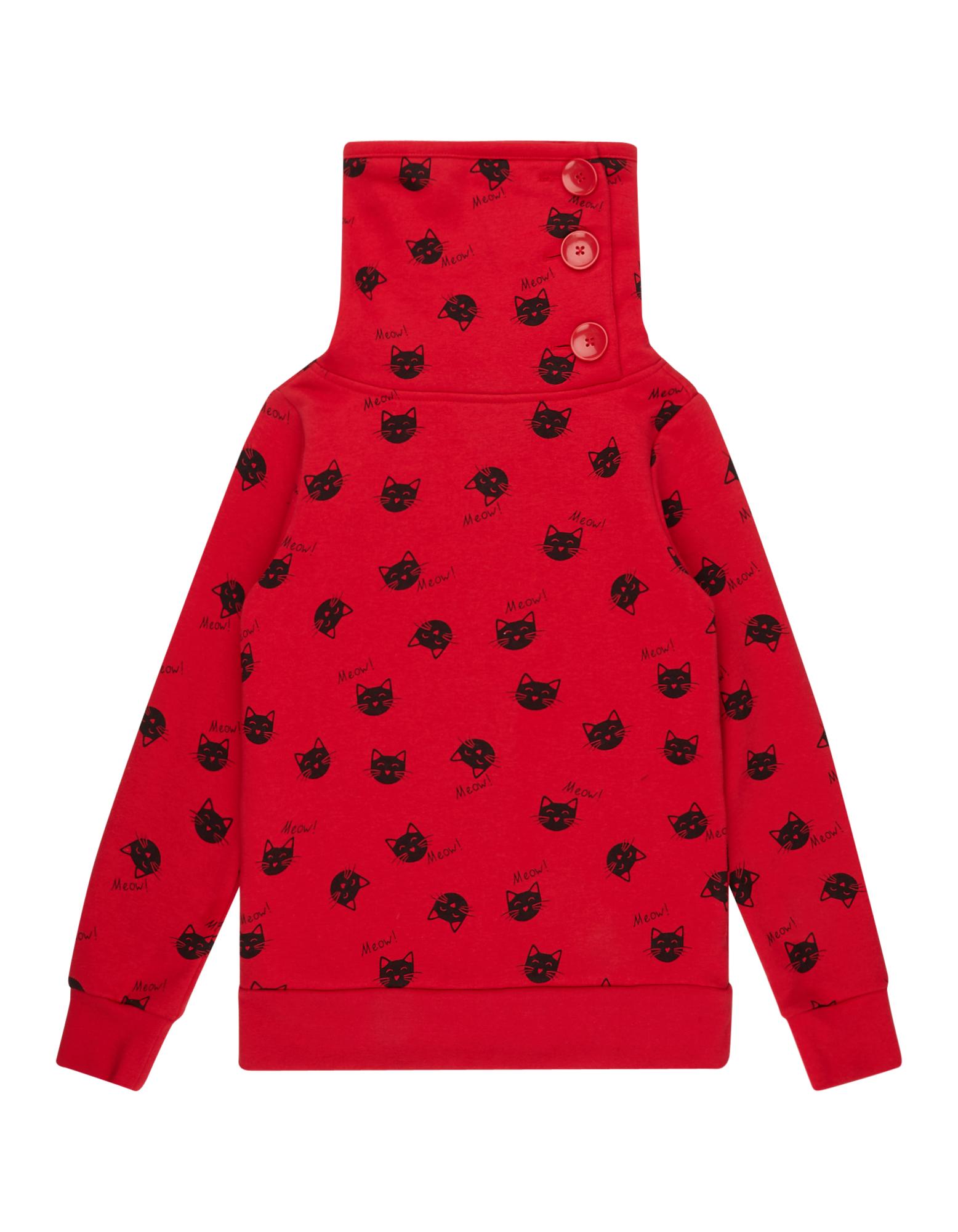Mädchen Sweatshirt mit Tube Collar und Knopfleiste  | 81541433290101