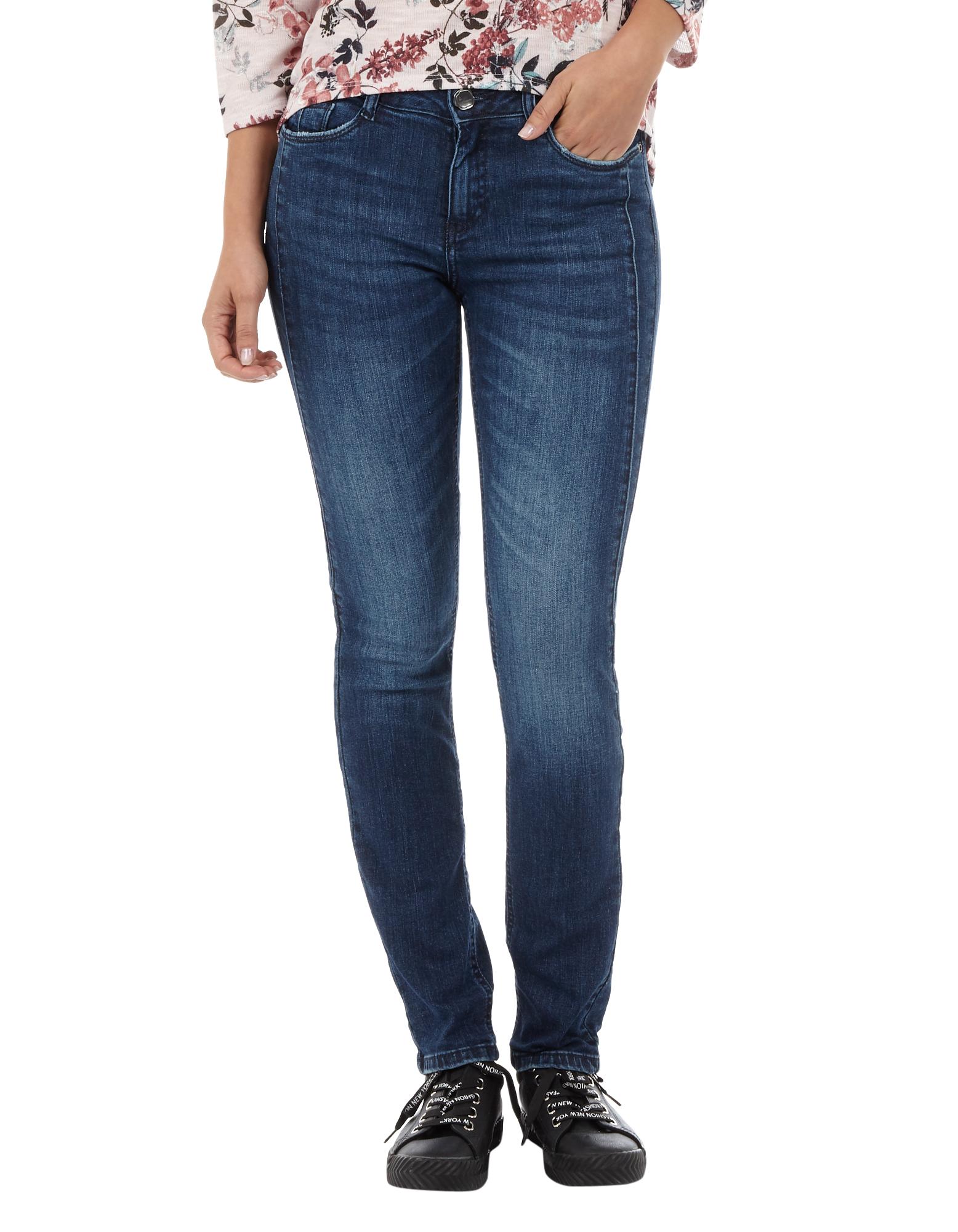 Damen Stone Washed Slim Fit Jeans - Takko Fashion