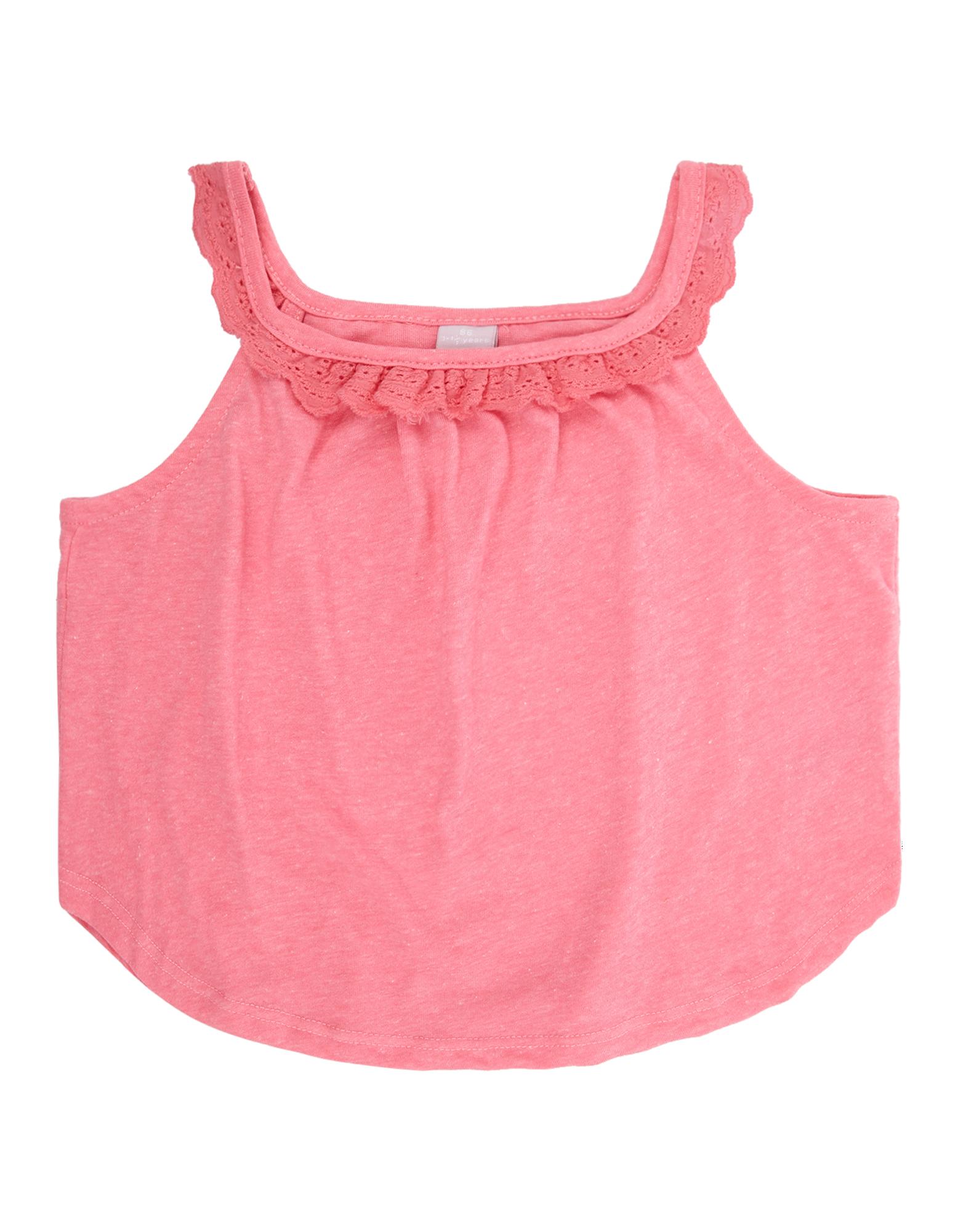 Baby Top mit Rüschenbesatz aus Lochspitze pink | 81475534480508