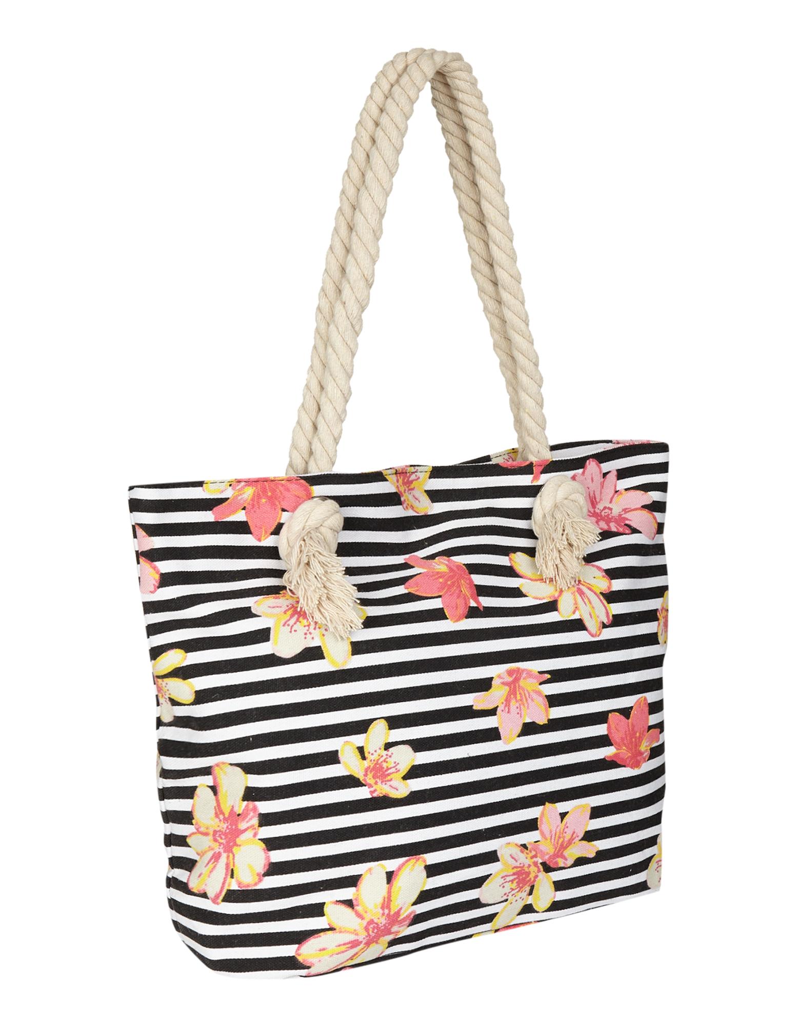 Colours of the World Damen Strandtasche mit Blumen- und Streifenmuster blau | 81620251020104