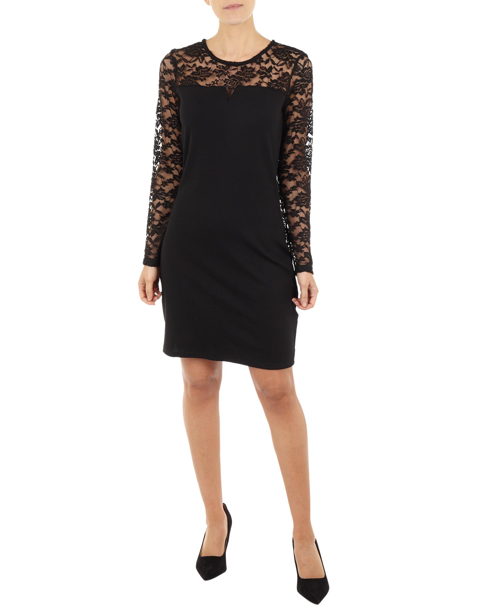 Damen Kleid mit Spitzeneinsatz schwarz | 81546991800205