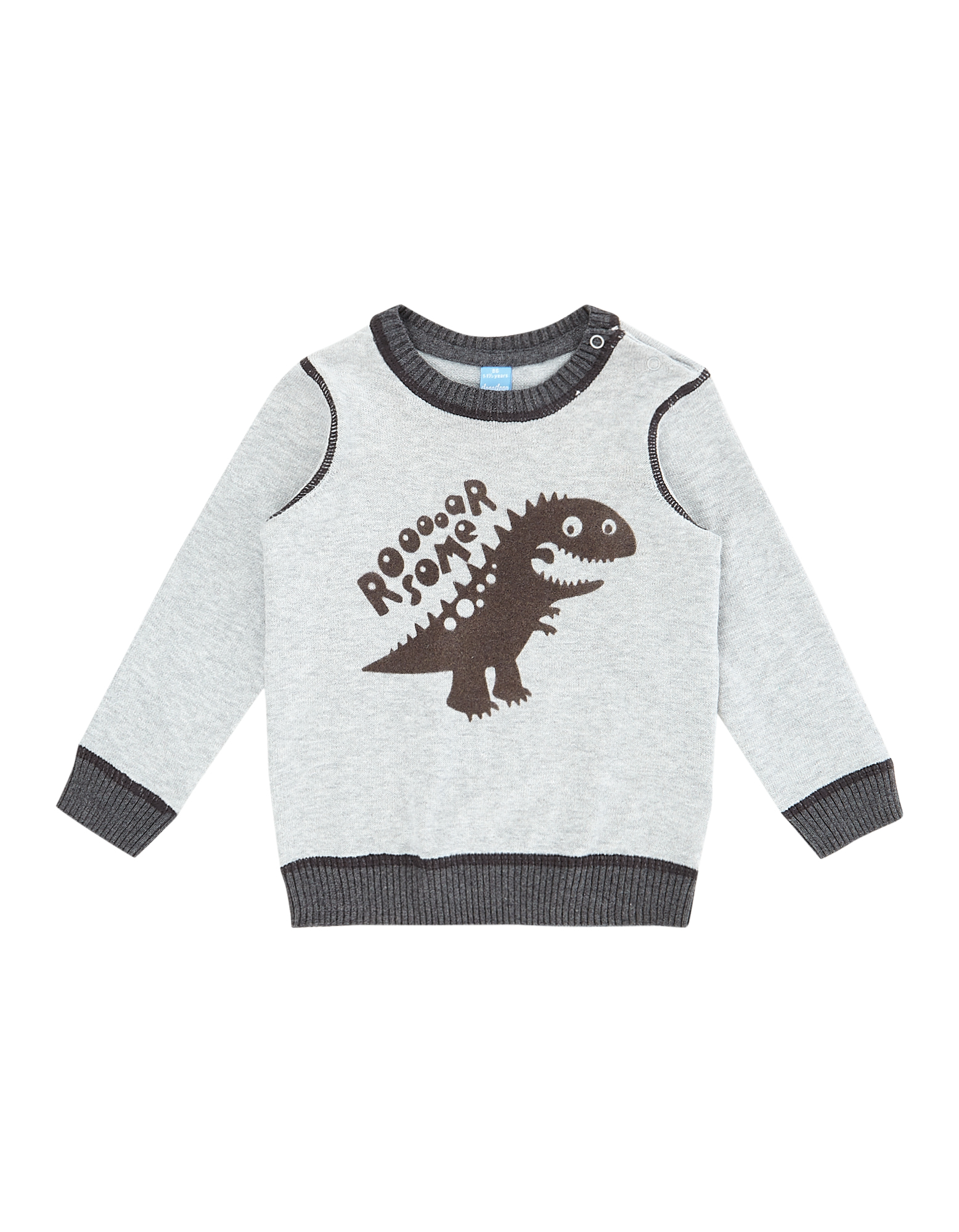 Baby Strickpullover mit Dinosaurier-Flockprint  | 81530021370509