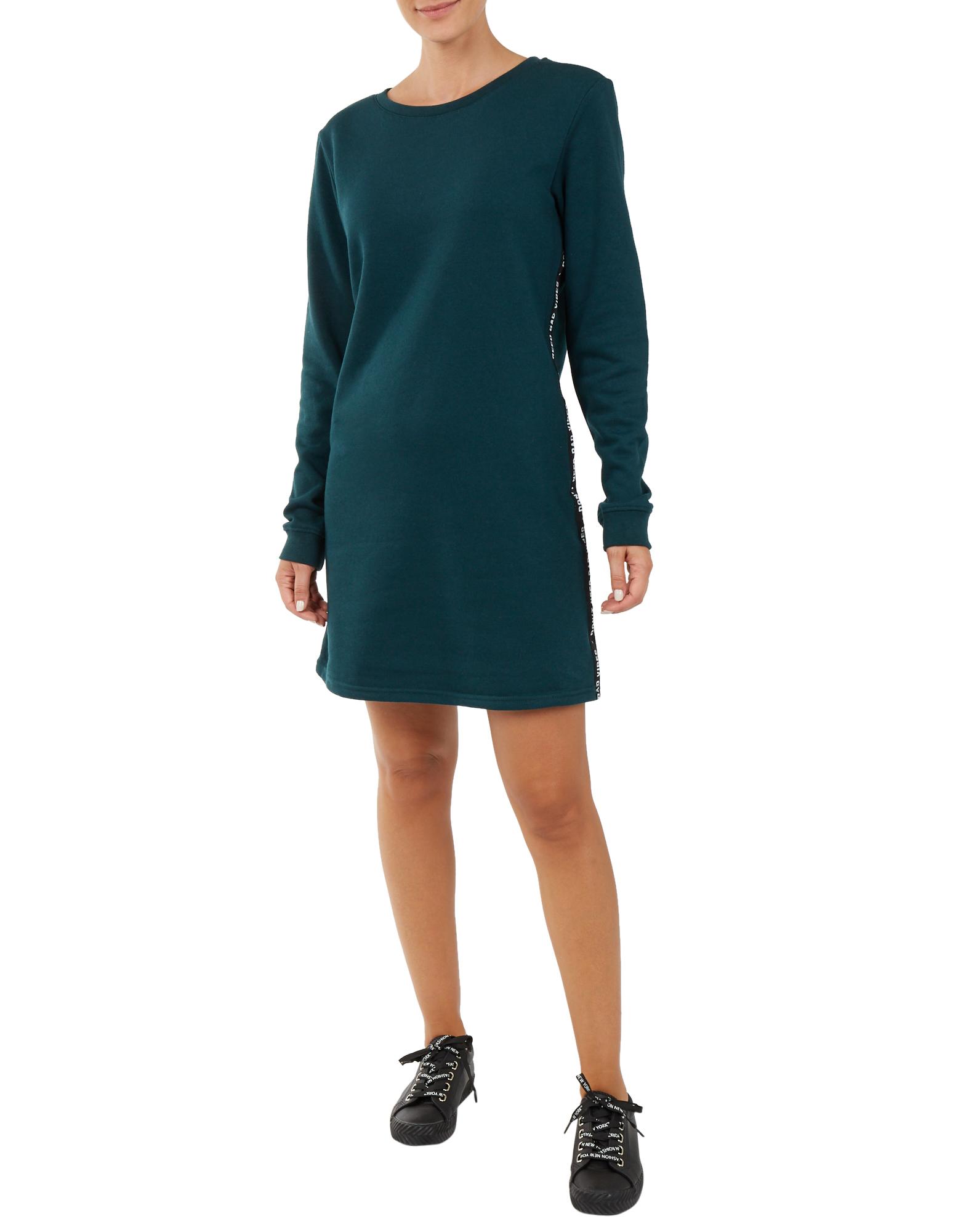 Damen Sweat-Kleid mit Kontraststreifen grün | 81524517790407