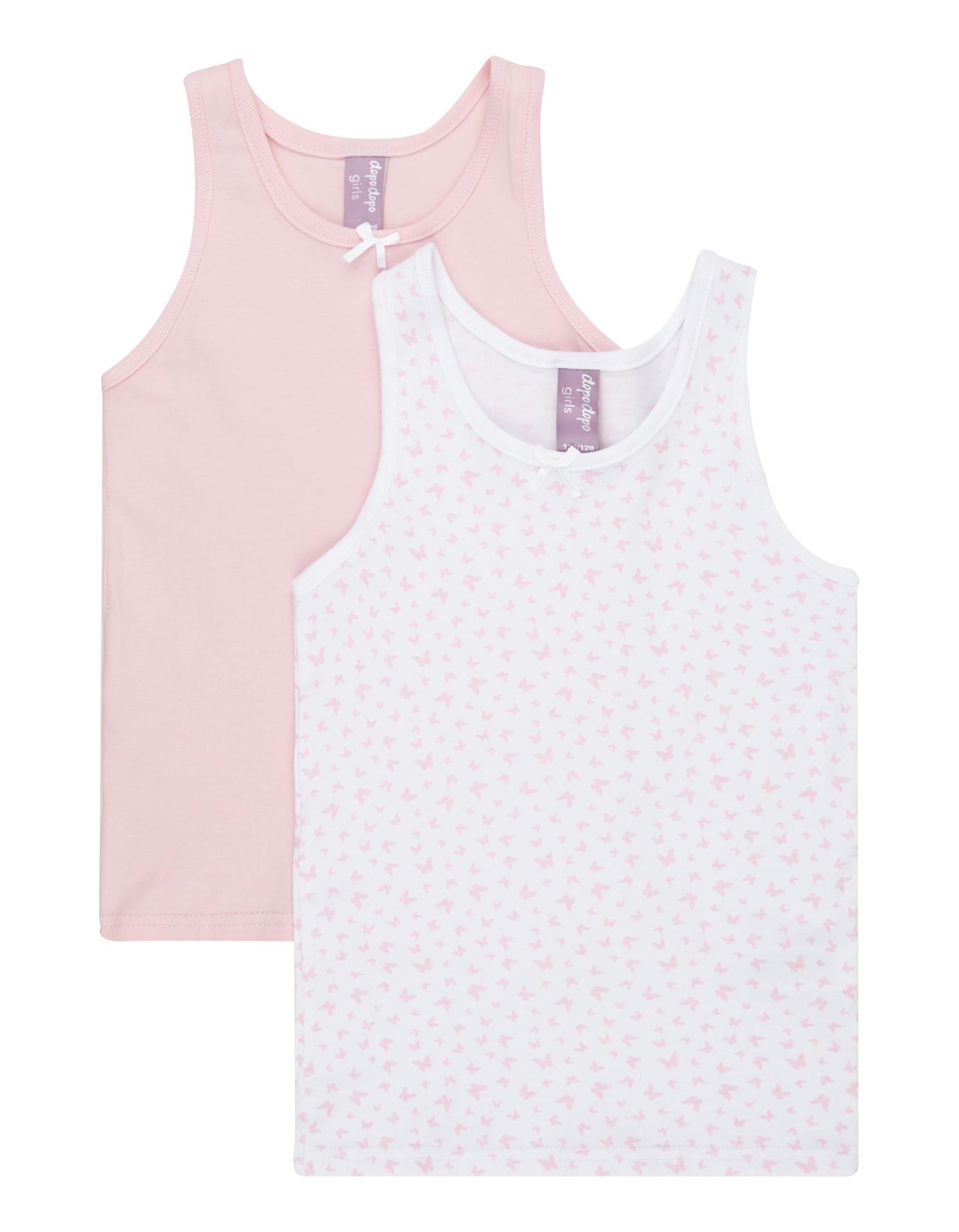 dopodopo girls Mädchen Unterhemd im 2er-Pack bunt,  mehrfarbig,  rosa | 81588571000506