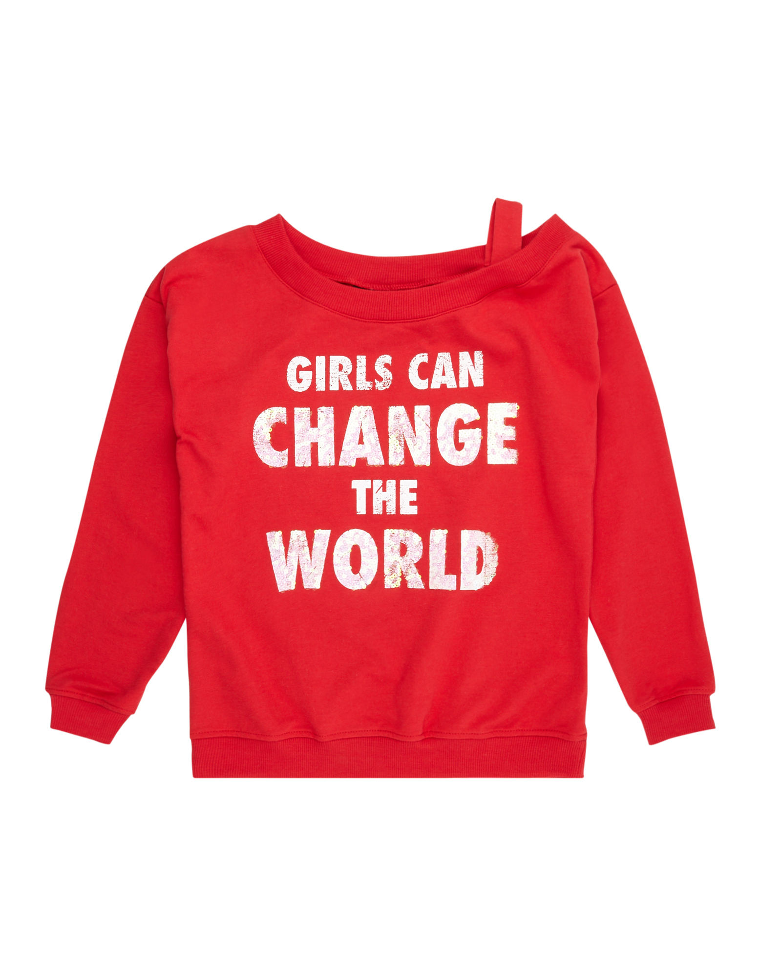 Mädchen Sweatshirt mit Message-Print und Paillettenbesatz  | 81525553290302