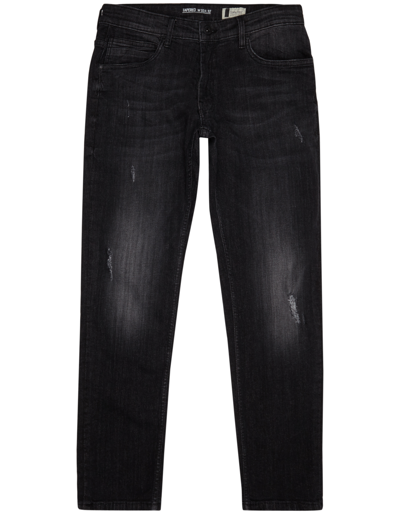 Herren Tapered Fit Jeans im Used Look blau,rot | 81458169940401