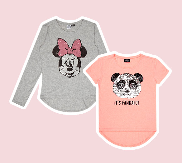Zwei Wende-Pailletten-Shirts von Takko Fashion für Kinder